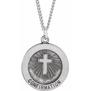 "Sterling Silver 18 mm Confirmation Medal with Cross 18"" Necklace"