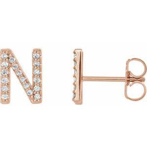 14K Rose .07 CTW Diamond Single Initial N Earring