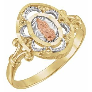 14K Yellow & Rose Our Lady of Guadalupe Ring