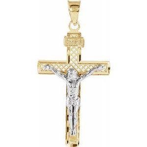 14K Yellow & White 31x19.75 mm Crucifix Pendant