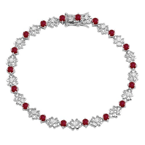 925 Rhodium Plated Flower Link  Bracelet with Clear and Green CZ