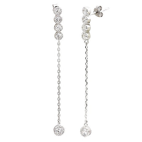 925 Rhodium Plated Dangling CZ Earrings