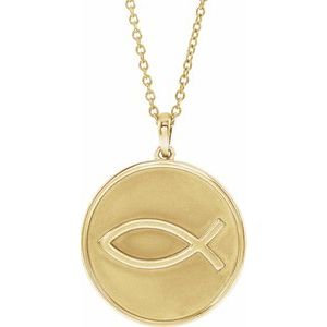 """14K Yellow 20.3x18.4 mm Ichthus (Fish) 16-18"""" Necklace"""