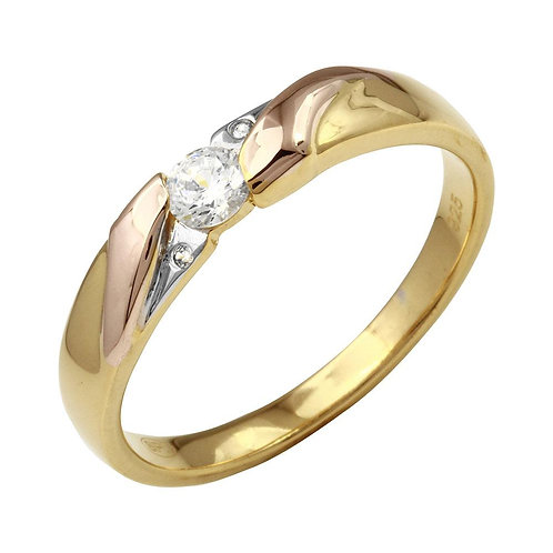 Cubic Zirconia Sterling Silver Mens Band Ring