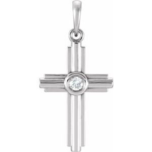 Sterling Silver .06 CTW Diamond Cross Pendant