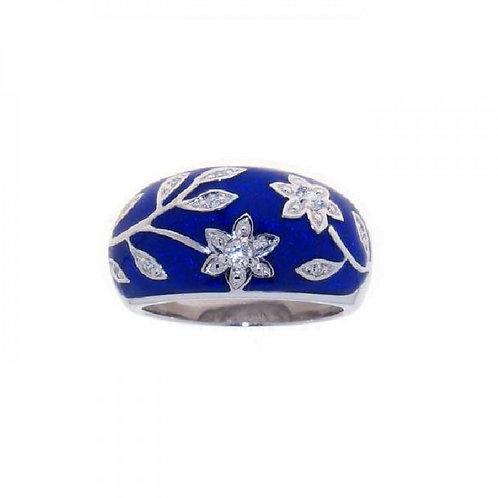 Flower  Blue Enamel Ring