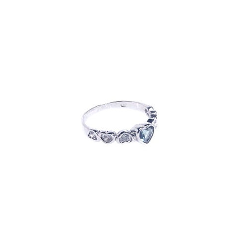 925 Rhodium Plated Blue Center CZ Heart Ring