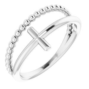 Sterling Silver Negative Space & Beaded Cross Ring