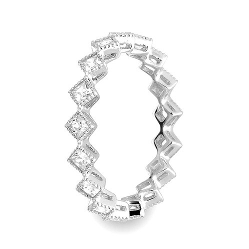 Square Cubic Zirconia Sterling Silver Rhodium Plated Eternity Ring Band