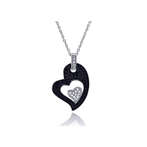 Sterling Silver Black and White Pendant Necklace