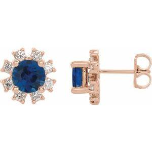 14K Rose Chatham® Created Blue Sapphire & 1/5 CTW Diamond Earrings