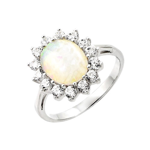 White Opal Center Cubic Zirconia  Sterling Silver Ring