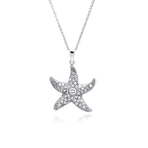 925 Clear CZ Rhodium Plated Starfish Pendant Necklace