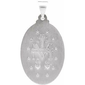 14K White 25x18 mm Oval Hollow Miraculous Medal