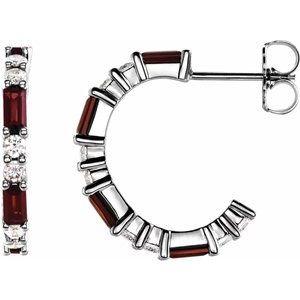 14K White Mozambique Garnet & 1/2 CTW Diamond Earrings