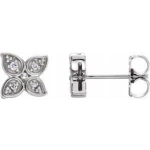 Sterling Silver  .05 CTW Diamond Leaf Earrings