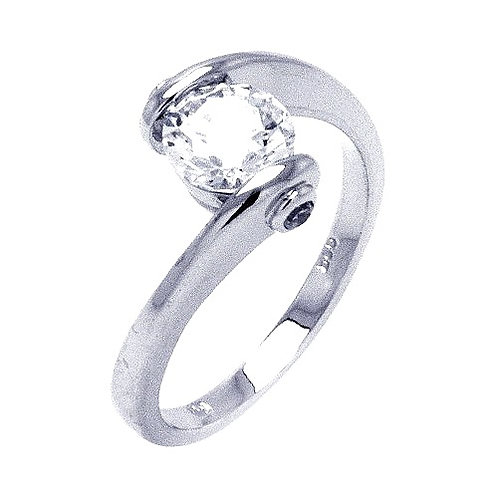 925 Rhodium Plated Clear Round Center CZ Overlap Twist Ring