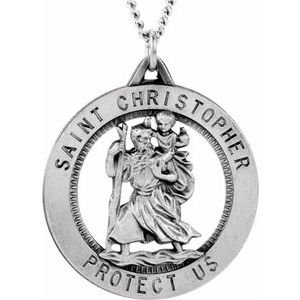 Sterling Silver 25.25 mm St. Christopher Medal Necklace