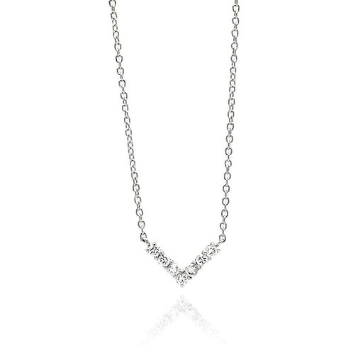 V- Shaped Cubic Zirconia Sterling Silver Rhodium Plated Necklace