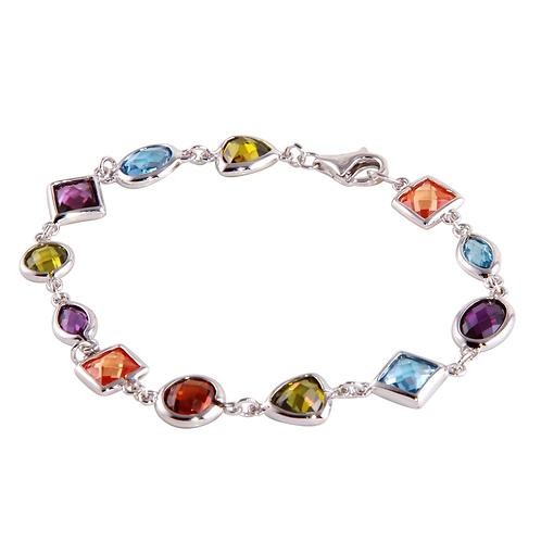 925 Multi-Color Mixed CZ Stone Bracelet