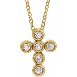 "14K Yellow 1/6 CTW Diamond Cross 16-18"" Necklace"
