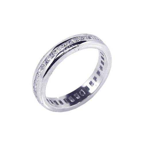 925 Rhodium Plated Channel Set Clear Square CZ Eternity Ring