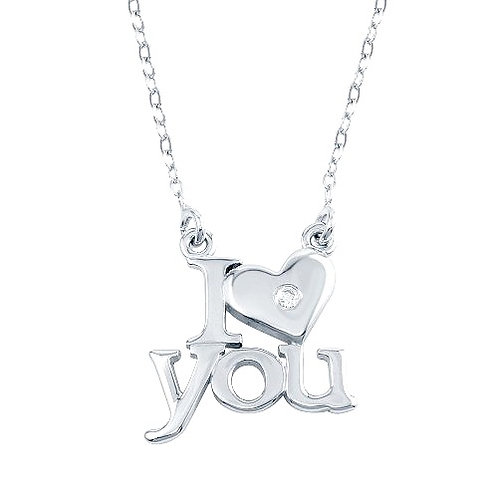 925 Rhodium Plated CZ I Heart You Necklaces