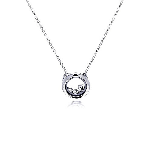 925 Rhodium Plated Open Circle Clear CZ Accentuated Pendant Necklace