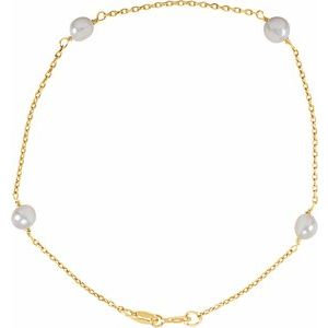 "14K Yellow 4-4.5 mm  Freshwater Cultured Pearl Youth 6"" Bracelet"