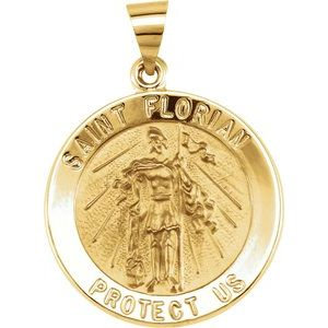 14K Yellow 22 mm Round Hollow St. Florian Medal
