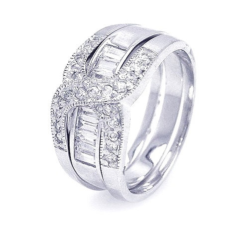 925 Rhodium Plated Clear Baguette CZ Overlap Ring