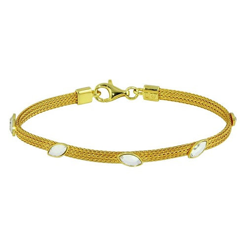 925 Gold Plated Flat Bracelet with CZ Stones