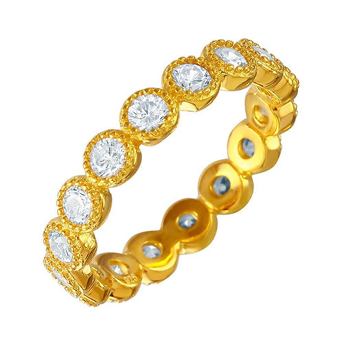 Round Cubic Zirconia Sterling Silver Gold Plated Stackable Ring Band