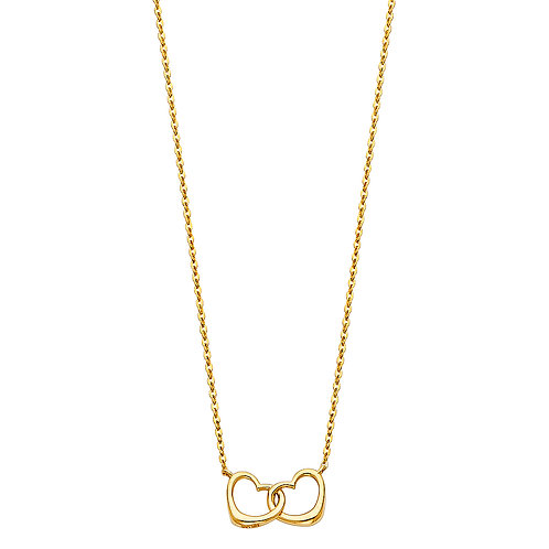 14K Gold Fancy Double Heart Necklace