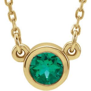 """14K Yellow Emerald 16"""" Necklace"""