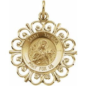 14K Yellow 18 mm St. Theresa Medal