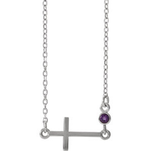 "14K White Amethyst Sideways Accented Cross 16-18"" Necklace"