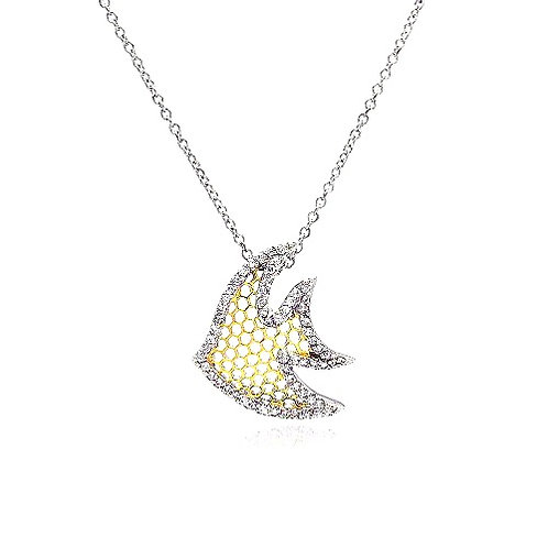 925 Clear CZ Rhodium Plated Multi Hole Fish Pendant Necklace