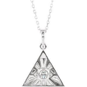 "14K White 1/10 CTW Diamond Eye of Providence 16-18"" Necklace"