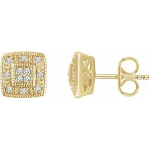 14K Yellow 1/10 CTW Diamond Cluster Earrings