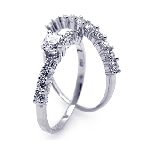 925 Rhodium Plated CZ Bridal Engagement Ring Set