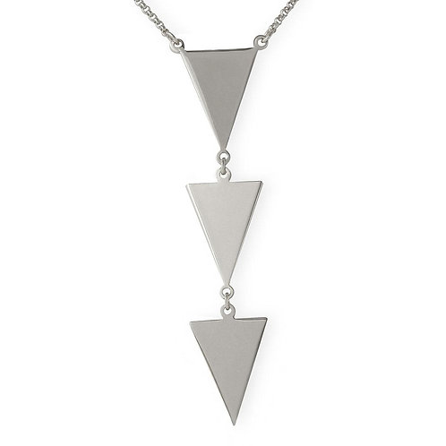 Triangle Drop Sterling Silver Rhodium Plated Adjustable Necklace