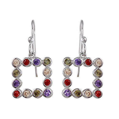 Multi-Colored CZ Sterling Silver Open Square Earrings