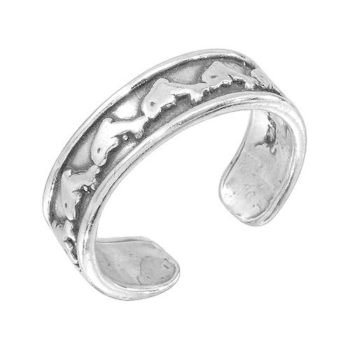 925 Dolphin Link Adjustable Toe Ring