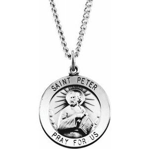 """Sterling Silver 22 mm Round St. Peter 24"""" Necklace"""