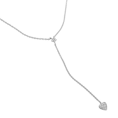 Star and Heart Cubic Zirconia Sterling Silver Rhodium Plated Necklace