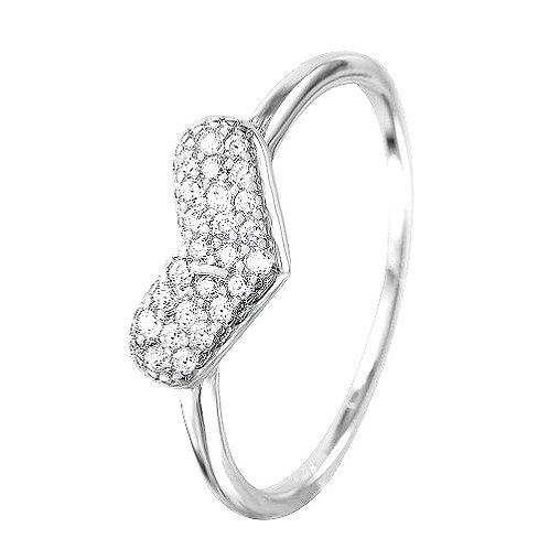 Heart Cubic Zirconia Encrusted Sterling Silver Ring