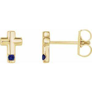 14K Yellow Blue Sapphire Cross Earrings