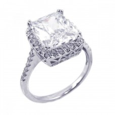925 Rhodium Plated Clear Cluster CZ Square Antique Ring