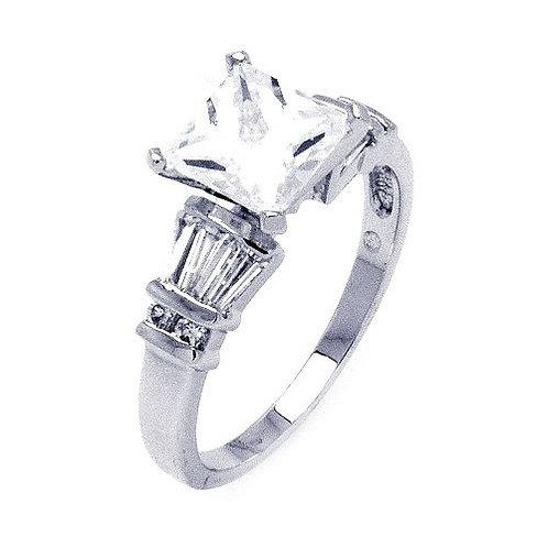 925 Rhodium Plated Clear Princess Cut Center Round Baguette CZ Bridal Ring